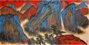 《华岳三峰凭栏立九曲黄河报关来》1997年王林昌作68X136cm 副本_Small