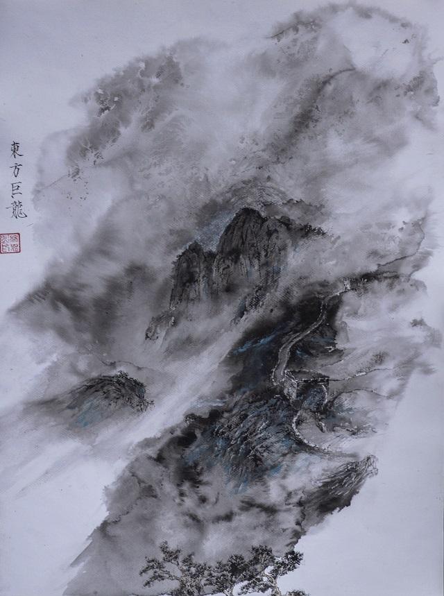 水法硬笔画《东方巨龙》(640)