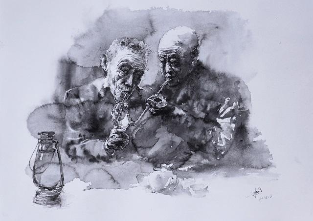 水法硬笔画《哥俩好》(640)A