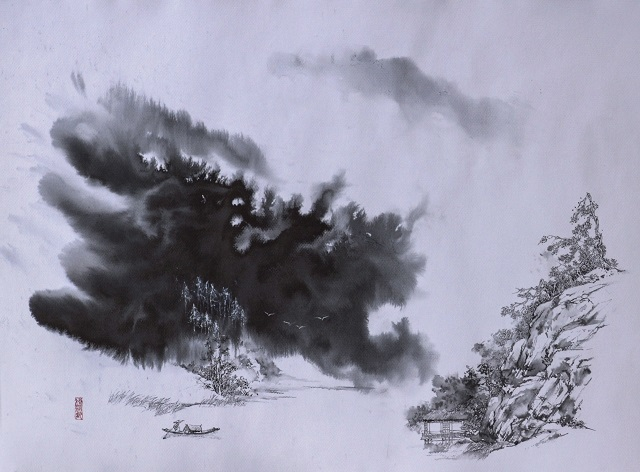 水法硬笔画《山色空蒙雨亦奇》(640)
