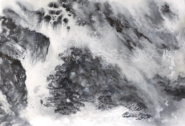 水法硬笔画《桃花源》(640)
