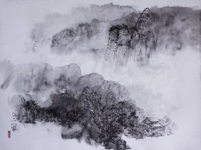水法硬笔画《江上人家》(640)