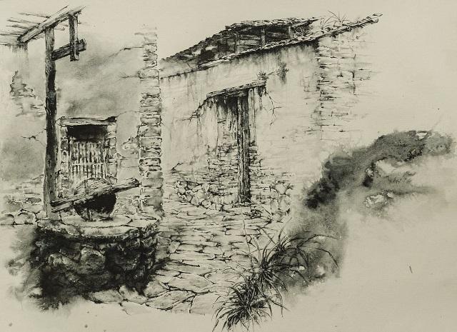 水法硬笔画《老石磨》(640)